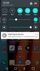 When GSM Signal Monitor is running a notification is shown in your phones notification area