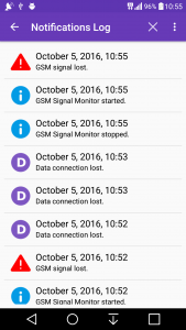 GSM Signal Monitor notifications log
